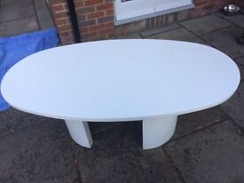 White Oval Solid Table