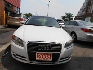 2008 Audi A4 2.0T Leather Sunroof AWD White Only 95,000Km