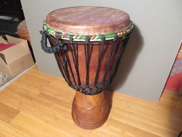 """Hand-carved Professional Djembe Drum From Ivory Coast - 13""""x 25"""" Full Size."""