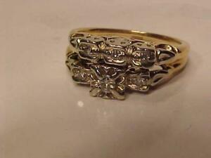#3251-14K Y/W/Gold ANTIQUE WEDDING SET-APPRAISED $2,550.00 SELL $625.00 FREE SHIPPING CANADA-INTERAC PAYMENT ACCEPTED
