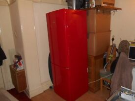 NEARLY NEW SWAN SR9054R, A+ RATED, AUTO DEFROST FRIDGE/FROST FREE FREEZER, FRIDGE FREEZER IN RED