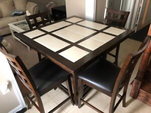 Ceramic/Solid Wood Table and chair set