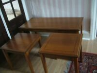 Table Set 3 occasional matching coffee tables teak/mahogany colour -southbourne