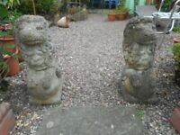 "PAIR GARDEN STONE LIONS - 22"" HEIGHT"