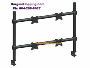 "10""- 23"" Adjustable Tilting QUAD TV Monitor Desk Mount Bracket"