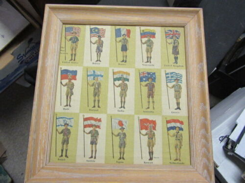 Lewicki Painting of Boy Scout Uniforms of the World Print, Framed,   13 by 14