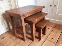 Rustic design solid oak nest of tables