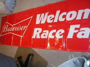 NEW! Lrg NASCAR WELCOME RACE FANS BUDWEISER BANNER SIGN BEER MAN CAVE BUDWIESER