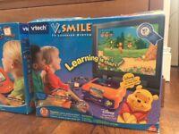 V.Tech V.Smile TV learning system with V.Smile Art Studio, V.Smile Pocket handheld console & 6 games