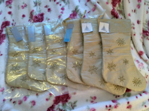 GOLD SNOWFLAKE CHRISTMAS STOCKINGS - $10each OBO - NWT