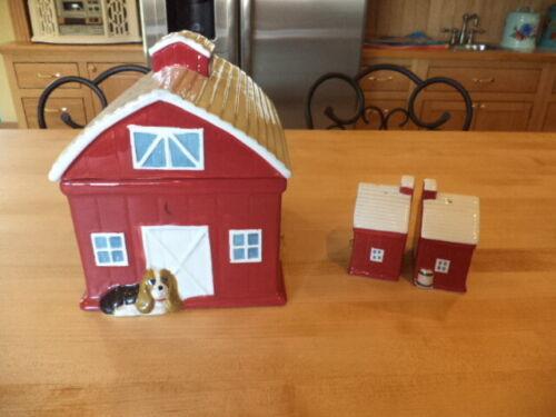 The Pioneer Woman Rustic Barn Cookie Jar PLUS MATCHING SALT & PEPPER SHAKERS