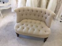 Bouji Love Seat, Occasional Accent Chair, in Taupe Linen Mix Fabric