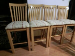 4  beautiful high solid wood dining,kitchen, bar chairs