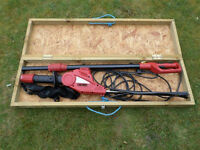 Extendable Electric Hedge Trimmer in Wooden Box