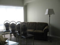 sofa,floor lamp,four dining chairs