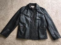 Genuine Armani Women's Jacket. Black/Brown Leather. Size 10.
