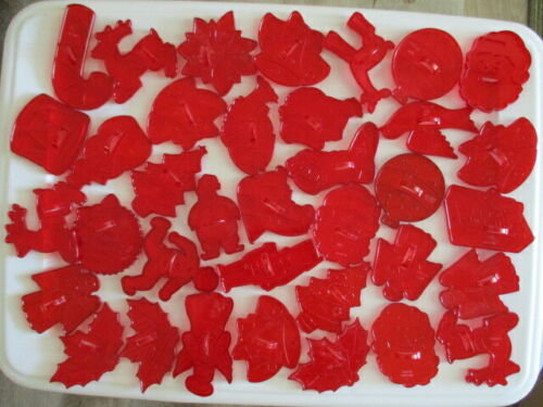 36 Vintage Red Plastic Christmas Cookie Cutters
