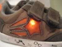 'NEXT' KHAKI LIGHT UP SHOES INFANT SIZE 8. OUTGROWN BUT STILL LIGHT UP. SOME WEAR SO ONLY £6
