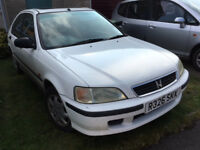 Honda Civic 1.4i 1997 White SPARES OR REPAIR