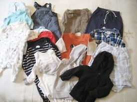 3-6 MONTHS. 18 ITEMS INC BODYSUITS BY H & M, DUNGAREES, TROUSERS, 2 SHIRTS, ONLY 33p EACH (BAG 22)