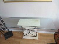 4 tableS de salon fer forge + 2 lampadaire , VITRE ET IMITATION
