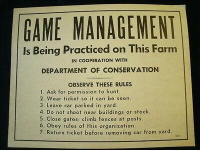 Vintage Game Management Sign Dnr Michigan Dept Of Conservation 14  X11   A6