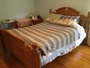 Double bed, dresser, and night stand