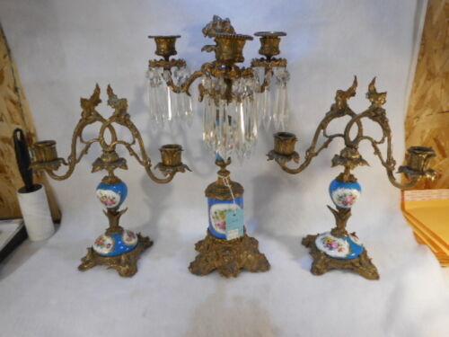 RARE Elegant Candelabra Set with Sevres Porcelain Floral Handpainted Unmarked