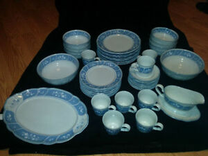 Noritake Victory Blue Stoneware 8 Place Setting NEVER USED