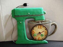 Allen Design Retro Look Green Vintage Kitchen Mixer Wall Clock - NO Pendulum