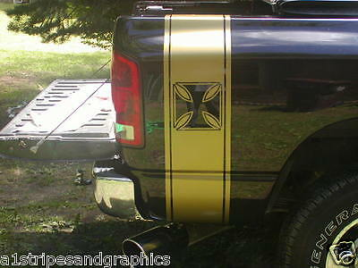 Iron cross Truck Rear Bed Stripes Stripe Graphics Ram 2500 3500 FIT ALL YR Chevy