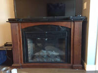 Electric Wood and Granite Fireplace