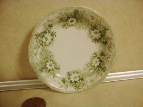 Vtg Butter Pat New Whare Porcelain England w Green CLIVE Pattern Collectible!