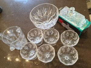 Crystal looking Fruit/ Ice Cream Platter Set and Others