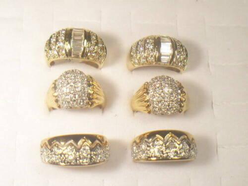 6 .. CZ  RINGS  VINTAGE  WITH SIMULANTED DIAMOMD SWAROVSKI CZ