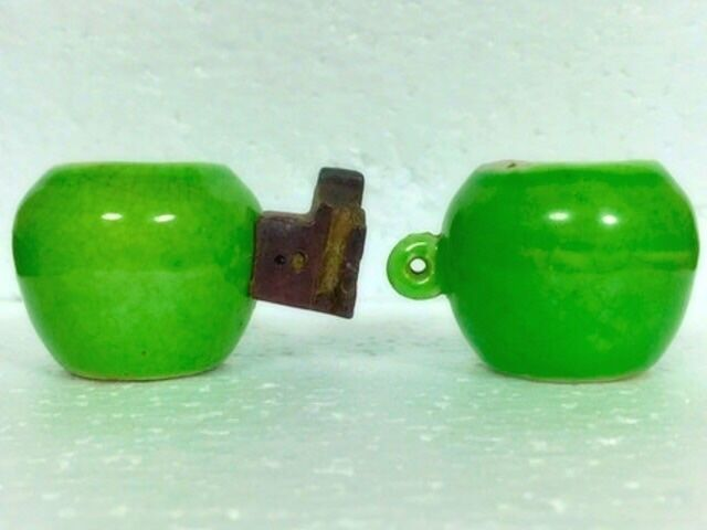 Antique Lovely Crackled Green Apple Porcelain Bird Cups