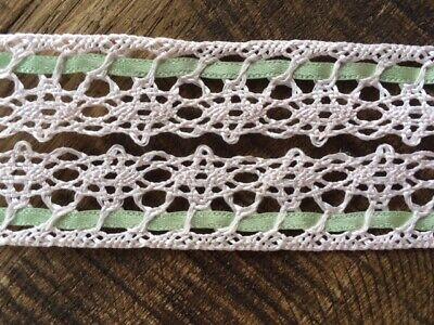 laverslace Pretty Pale Pink and Green Ribbon Cotton Cluny lace Trim 2cm  (Pale Pink Ribbon)