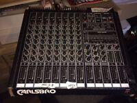 PA system. Carlsbro Mixer, x2 Peavey speakers