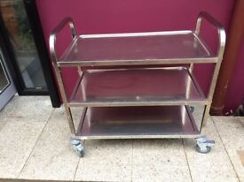 Chrome finish medicine trolley with lockable wheels