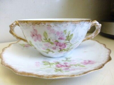 Nice Limoges Tea Cup & Saucer B & H France Double Handle Cup and Saucer