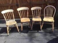 4 mis-matched pine kitchen chairs