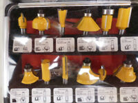 ROUTER BIT SET 12 PIECE HIGH QUALITY BITS WITH CARBIDE TIPS IN METAL CASE