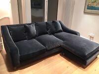 Loaf Oscar Grey Armour Plush Velvet Chaise Corner Sofa