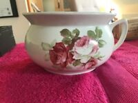 Floral Vintage Chamber Pot - Plant Pot or Decorative Pot