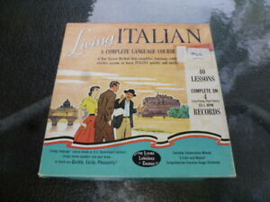 Vintage 1956 Living Language Course Italian Lessons Vinyl record