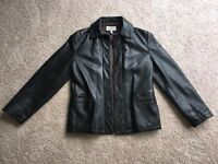 Genuine Armani Women's Jacket. Black/Brown Leather. Size 10.