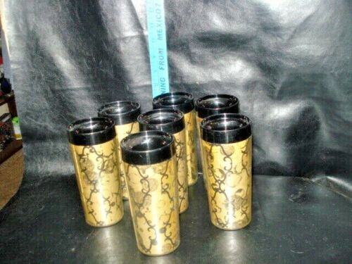 Set of 7 Vintage Thermo-Serv Insulated Black Gold Tumblers West Bend 10 Oz