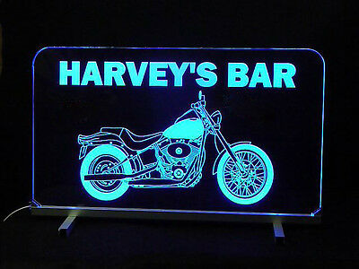 Personalized Motorcycle Led Sign  Man Cave  Garage Sign  Personalized Gift