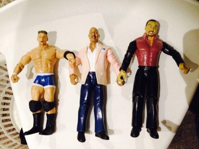 3 x WWE Wrestling figures (1 x Charlie Haas, 2 x Ringside figures)