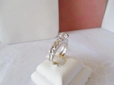 Size 7.75  Round Cut CZ & White Gold Filled Engagement & Wedding Ring Set on Rummage